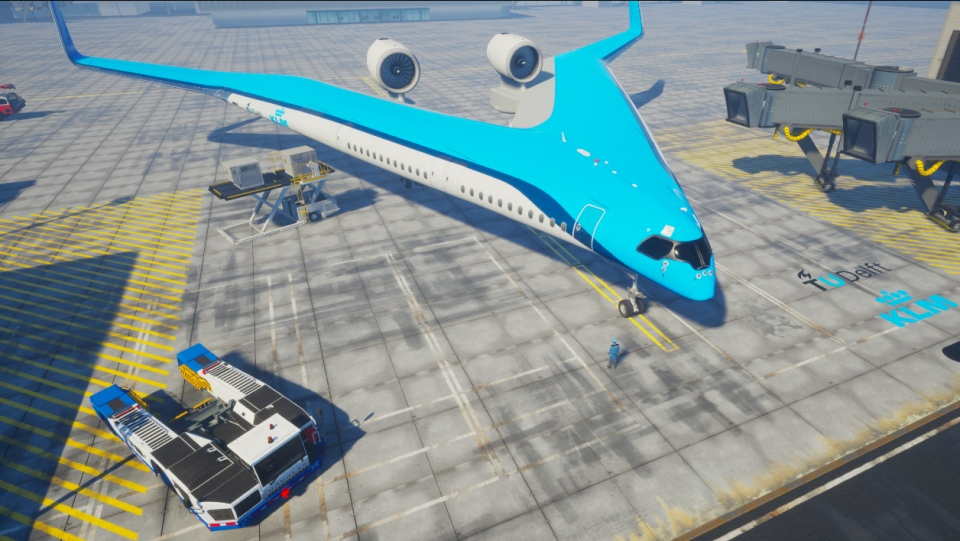 """An artist's impression of the """"Flying-V"""" aircraft design, which Dutch Airline KLM is working on building with Delft University of Technology. (Edwin Wallet at Design OSO, TU Delft)"""