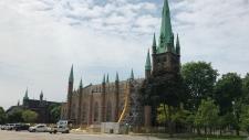 Construction begins on Assumption Church in Windsor, Ont., on Tuesday, June 4, 2019. (Rich Garton / CTV Windsor)
