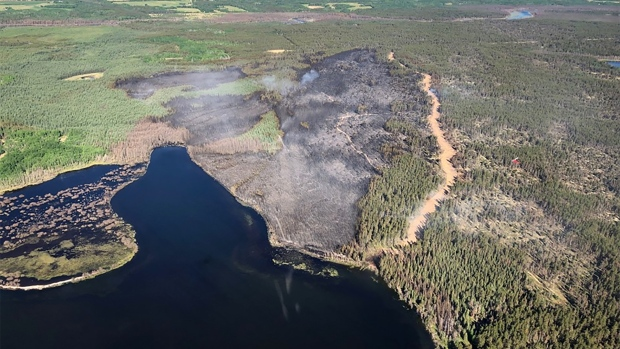 An aerial photo of the fire near Bonnyville, Alta. (SOURCE: MD OF BONNYVILLE)