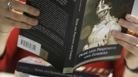 In this image taken in London, Tuesday, Aug. 11, 2009, three books are shown of a new bread of classic author novel and mutant beast. (AP / Alastair Grant)