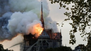 Some of the hundreds of tonnes of lead in the spire and the roof of Paris' Notre Dame cathedral melted in the extreme heat from the blaze. (AFP)