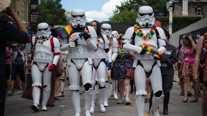 Stormtroopers celebrate at a pride event in 2017. (@plaidvader/Instagram)