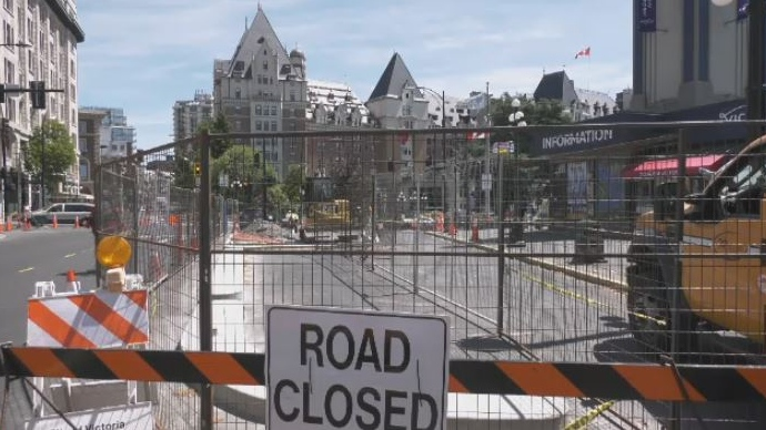Wharf Street is under construction as the city builds the newest bike lane to join its cycling network. June 4, 2019. (CTV Vancouver Island)