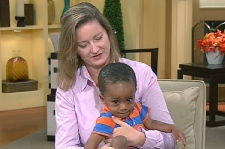 Carolyn Scharf appears on Canada AM, Wednesday Aug. 12, 2009 with her newly-adopted son, William.