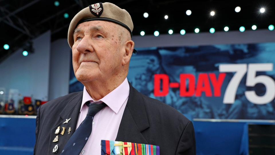 Veteran Bertie Billet attends the D-day 75 Commemorations in Portsmouth, England, Wednesday June 5, 2019. Commemoration events are marking the 75th Anniversary of the D-Day landings when Allied forces stormed the beaches of Normandy in northern France during World War II. (Chris Jackson/Pool via AP)
