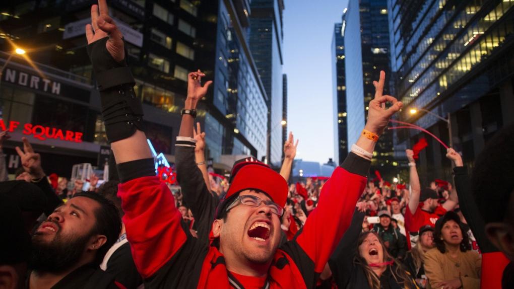 Raptors fans watch Game 2 of the NBA Finals