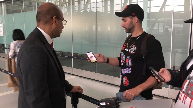 Toronto Raptors fan Ricky Liorti is seen heading to his flight to California to watch Game 3 of the NBA Finals. (CTV News Toronto / Corey Baird)