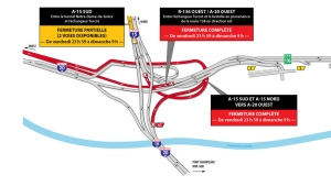 Roads will close from midnight Friday until 9 a.m. Sunday June 9