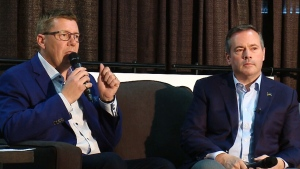 June 2019 photo of Premiers Scott Moe and Jason Kenney. The Buffalo Project is calling on the premiers to forge a new deal with the federal government.