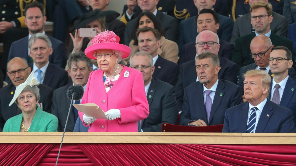 Queen Elizabeth II delivers a speech during commemorations for the 75th Anniversary of the D-Day landings at Southsea Common, Portsmouth, England, Wednesday, June 5, 2019. (Chris Jackson / Pool Photo via AP)