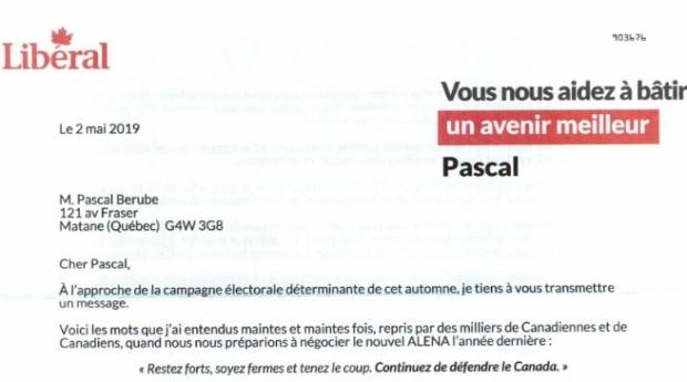 Trudeau donation letter