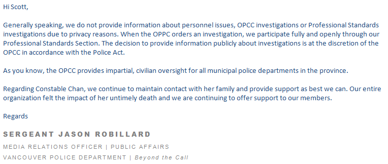The full statement from Sgt. Jason Robillard, media relations officer for the Vancouver Police Department.
