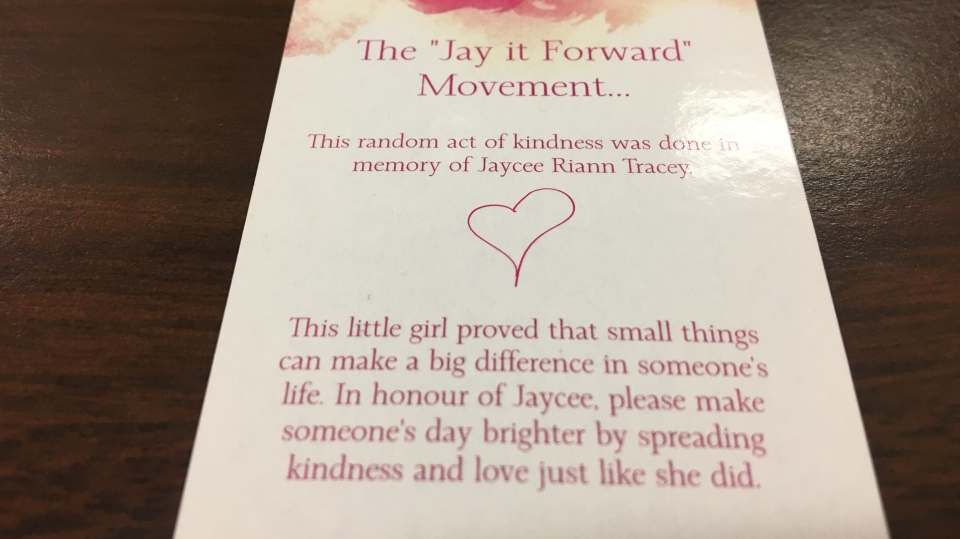 "Jaycey Tracey's parents are hoping to raise awareness about the disease and starting a movement that encourages people to ""Jay it forward."""