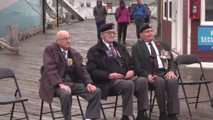 Three D-Day veterans who there when 14,000 Canadians stormed Juno Beach on June 6, 1944, were on hand to see the ship representing the Royal Canadian Navy's contribution to the Battle of Normandy.