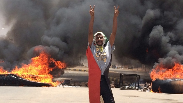 A protester in Khartoum, Sudan