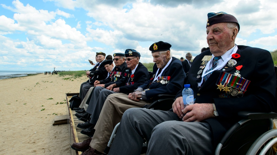 Veterans of the Second World War visit Juno Beach following the D-Day 75th Anniversary Canadian National Commemorative Ceremony at Juno Beach in Courseulles-Sur-Mer, France on Thursday, June 6, 2019. THE CANADIAN PRESS/Sean Kilpatrick