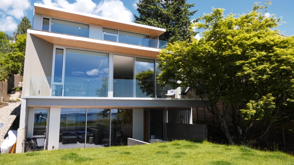 This passive house has been certified to emit no greenhouse gases and produce more energy than it uses on an annual basis.