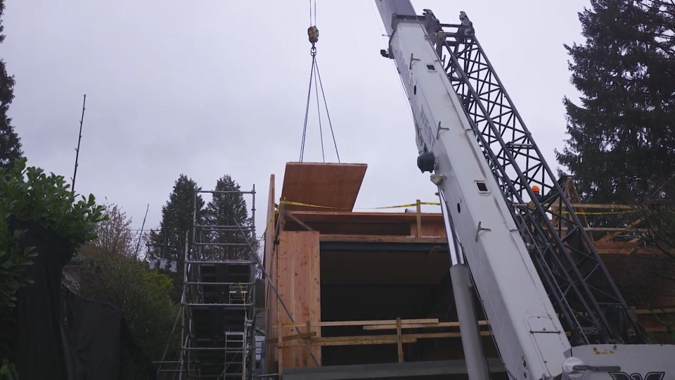 Cross-laminated timber or CLT was used to construct the house - BCIT Passive House Video Series
