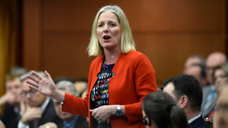 Minister of Environment and Climate Change Catherine McKenna rises during Question Period in the House of Commons on Parliament Hill in Ottawa on Thursday, May 16, 2019. THE CANADIAN PRESS/Justin Tang