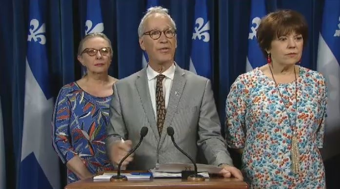Liberal MNAs Christine St-Pierre, David Birnbaum and Helene David call out the CAQ for not being vocal enough following the MMIWG report.