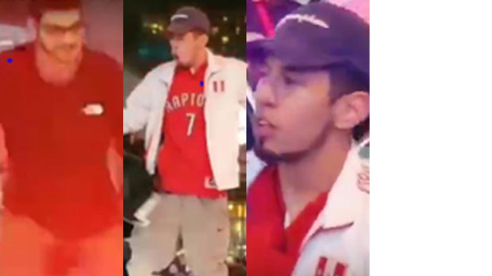 The third suspect wanted in a police car investigation is seen in the first image from the left of this composite image while the fourth suspect is seen in the next two images. (Toronto Police Service)