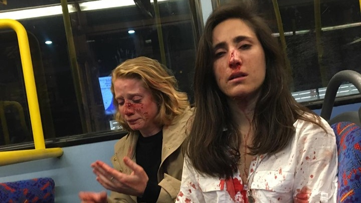 Melania Geymonat said she and her girlfriend were attacked on a bus in London by a group of men. (Melania Ps / Facebook)