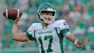 Saskatchewan Roughriders quarterback Zach Collaros attempts a pass against the Winnipeg Blue Bombers during first half CFL pre-season action at Mosaic Stadium in Regina on Thursday, June 6, 2019. THE CANADIAN PRESS/Mark Taylor