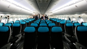 Seats are in place in the passenger cabin of the first Boeing 787 with the interior installed at the production plant in Everett, Wash., Wednesday, Feb. 3, 2010. (AP Photo/Elaine Thompson)