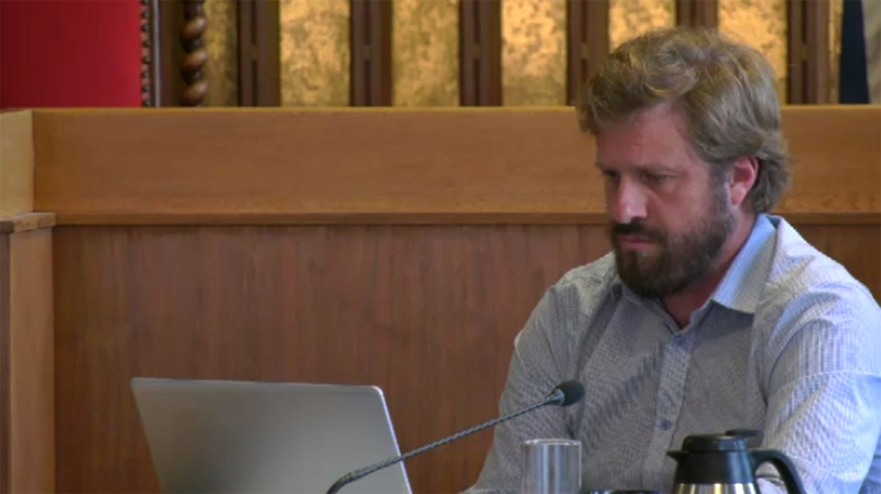 Victoria Coun. Ben Isitt put forward a motion that would direct city staff to ask military officials to pay for military events in the city. June 6, 2019. (CTV Vancouver Island)