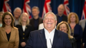 Ontario Premier Doug Ford speaks to journalists to share his achievements in government, in Toronto, on Friday June 7, 2019, on the one year anniversary of him taking office. (THE CANADIAN PRESS/Chris Young)