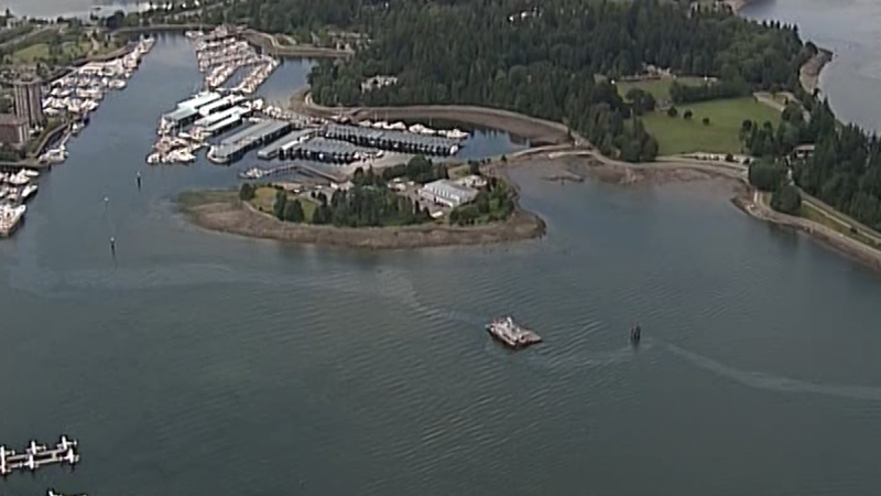 A fuel slick is seen in Burrard Inlet from CTV's Chopper 9 helicopter on June 7, 2019.