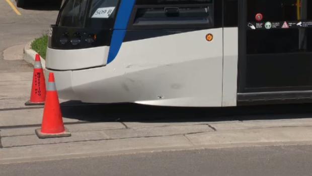 An LRT vehicle after a minor crash