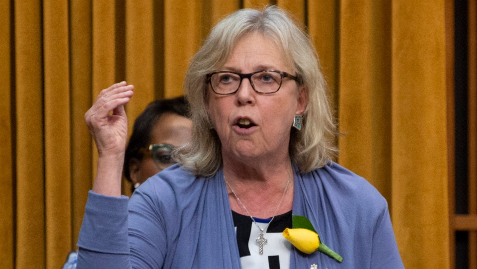 Green Party Leader Elizabeth May rises on a point of order following Question Period in the House of Commons, in Ottawa on Wednesday, May 29, 2019. THE CANADIAN PRESS/Adrian Wyld