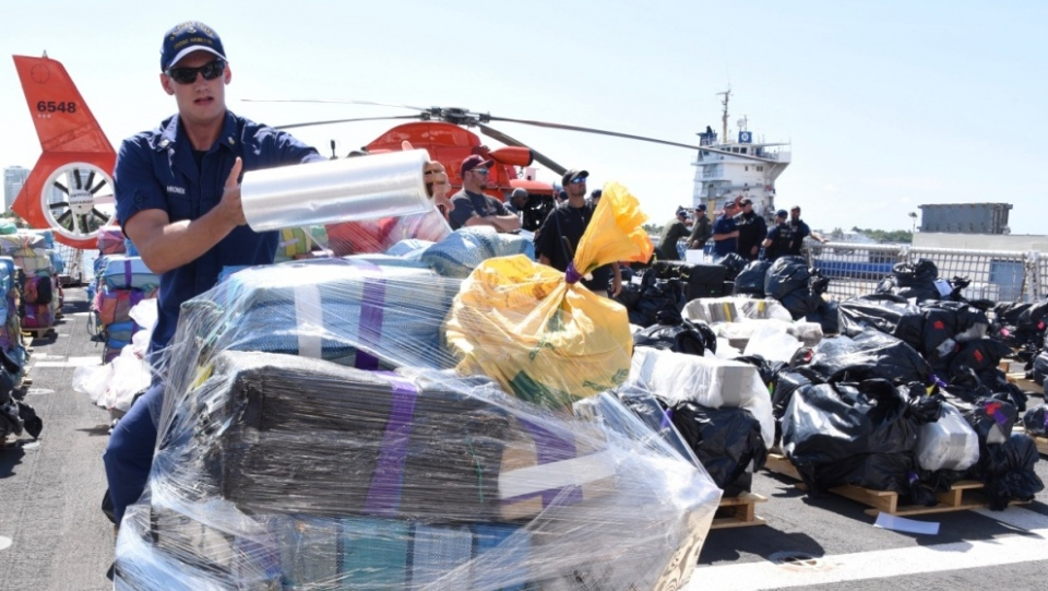 The U.S. Coast Guard (USCG), with help from the Royal Canadian Navy, has unloaded 11,793 kg (26,000 pounds) of cocaine and 680 kg (1,500 pounds) of marijuana seized off the coasts of Mexico, Central and South America. (USCG)