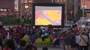 Basketball fans gather to watch Game 4 in Uptown Waterloo. (June 7, 2019)