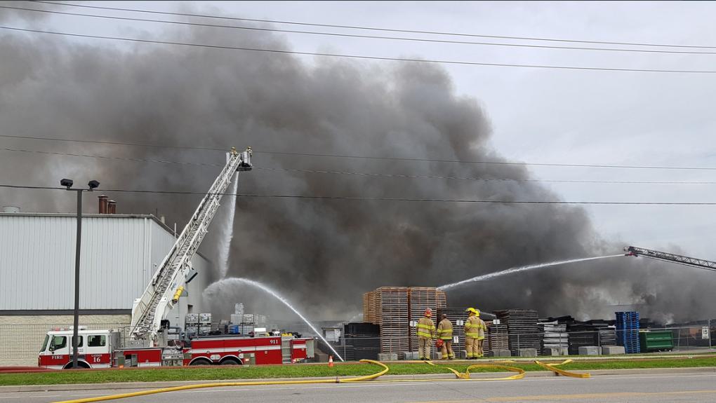 Crews still on scene at Brantford rubber factory fire