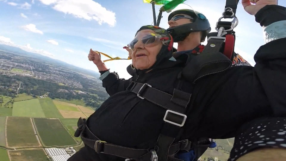 Etta Hellyer, 90, went skydiving Saturday to support Taber Village, an Abbotsford care home.