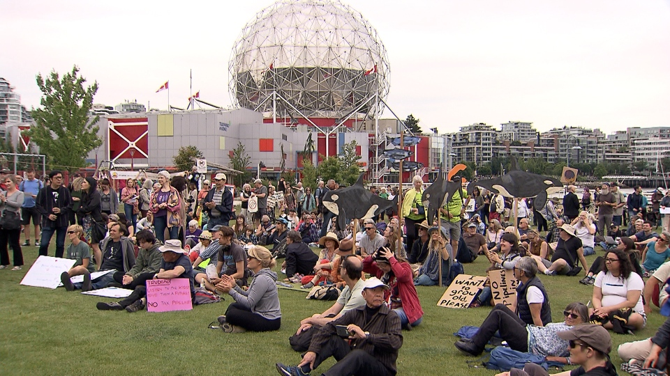 Hundreds attended an anti-pipeline protest in Vancouver on Sunday, June 9, 2019.