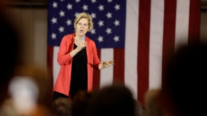 In this June 5, 2019, photo, Democratic presidential candidate Sen. Elizabeth Warren, D-Mass., speaks at the RV/MH Hall of Fame and Museum in Elkhart, Ind. (AP Photo/Darron Cummings)