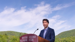 Prime Minister Justin Trudeau announces his government's intention to ban single-use plastics as early as 2021 during a news conference in Mont-Saint-Hilaire, Que., Monday, June 10, 2019. THE CANADIAN PRESS/Paul Chiasson