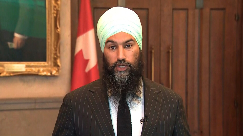 NDP Leader Jagmeet Singh appears on CTV News Channel, Monday, June 10, 2019.