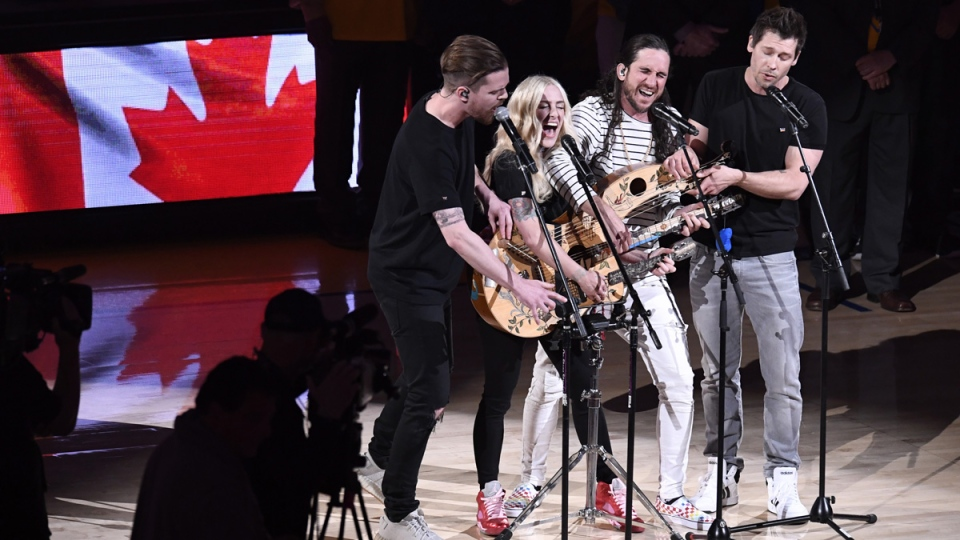Canadian indie pop band Walk off the Earth perform the Canadian National Anthem ahead of Game 4 of the NBA Finals in Oakland, California on June 7, 2019. (Frank Gunn / THE CANADIAN PRESS)