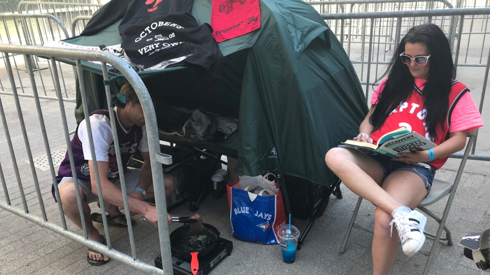 Angie Taylor and Tyler Seaton pitched their tent in line before game four had even finished. (Source: Brandon Gonez)
