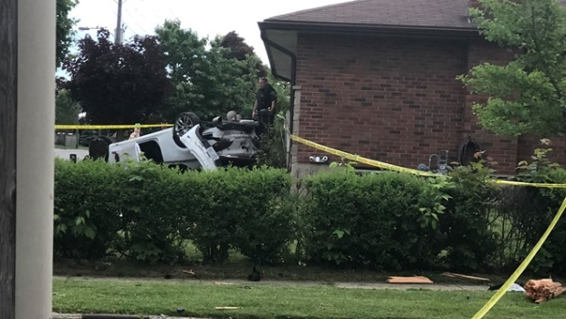 A car that crashed into a house