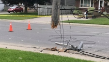 A hydro pole sheared off