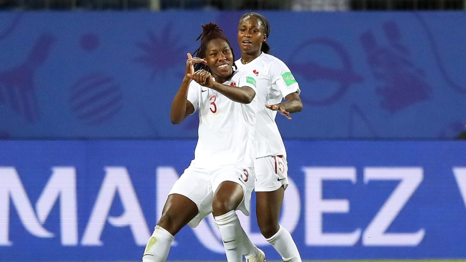 Kadeisha Buchanan scores Canada's only goal in the Women's World Cup match against Cameroon.