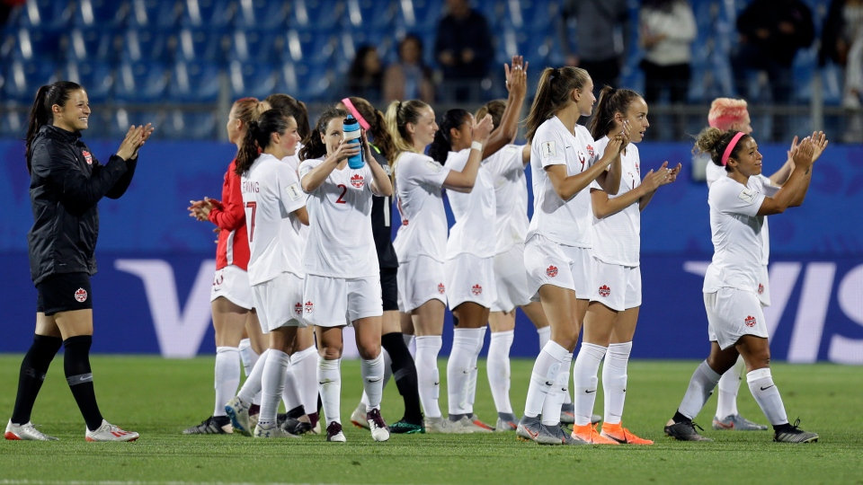 Team Canada celebrate after their 1-0 win in their Women's World Cup Group E soccer match between Canada and Cameroon in Montpellier, France, Monday, June 10, 2019. (AP Photo/Claude Paris)