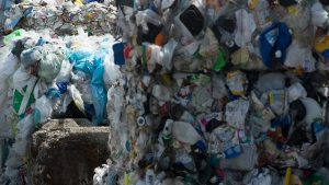 Plastics are seen being gathered for recycling at a depot in North Vancouver, B.C. Monday, June, 10, 2019. THE CANADIAN PRESS/Jonathan Hayward