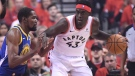 Toronto Raptors forward Pascal Siakam (43) handles the ball against Golden State Warriors forward Kevin Durant (35) during first half basketball action in Game 5 of the NBA Finals in Toronto on Monday, June 10, 2019. THE CANADIAN PRESS/Frank Gunn