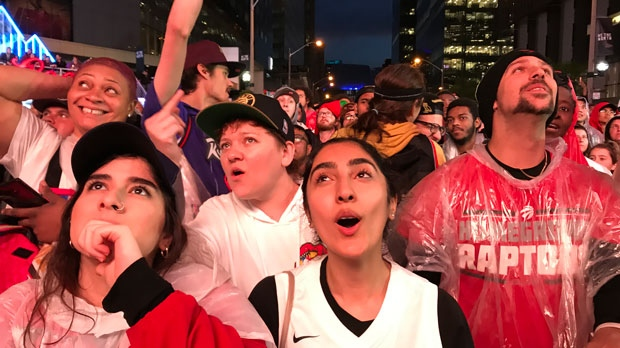 Toronto Raptors fans in Jurassic park react to Game 5 of the NBA Finals. (Tracy Tong/CTV News Toronto)